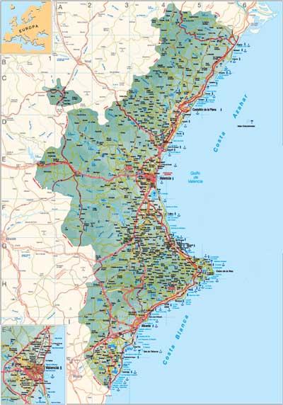 Mapa Costa Comunidad Valenciana.Mapa Comunidad Valenciana